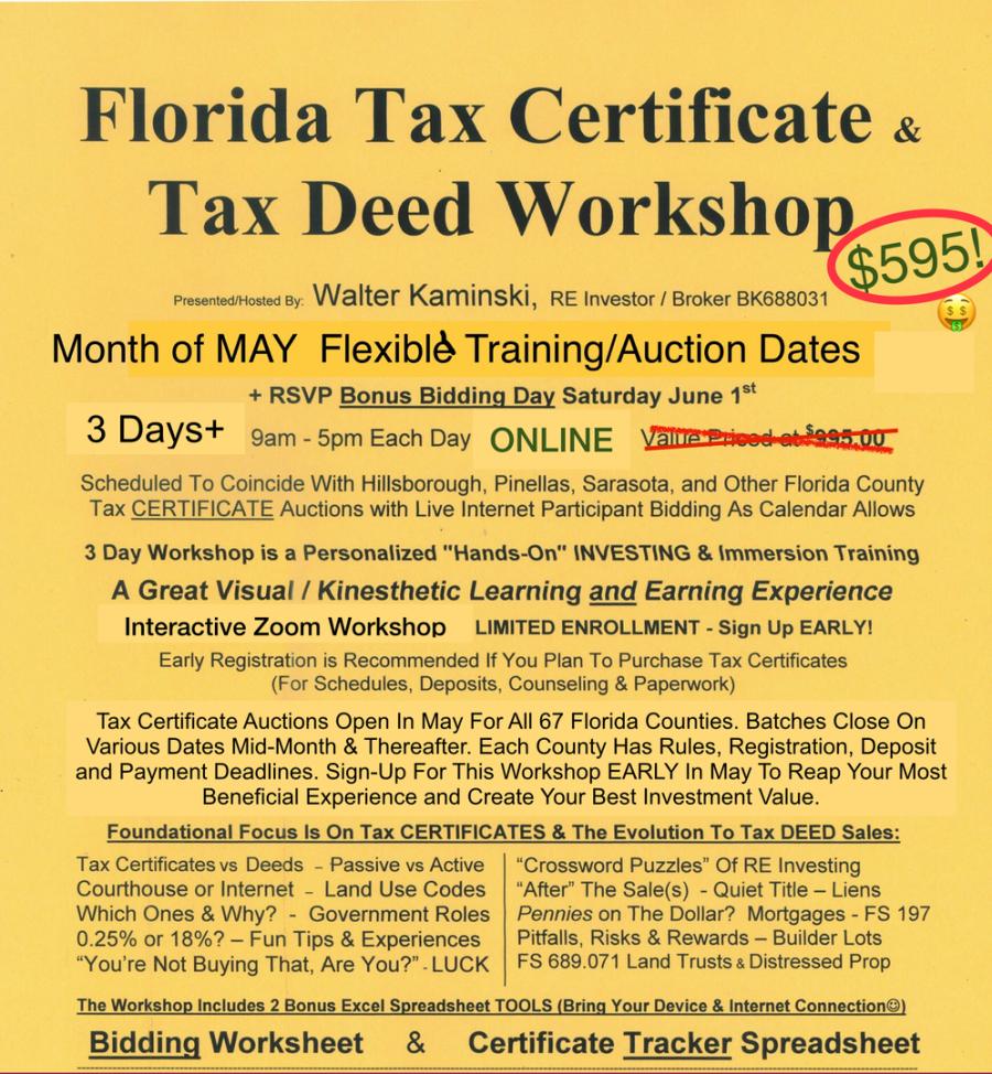 Florida Tax Certificate & Tax Deed Workshop